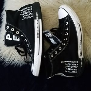 Men's Barely worn Converse-Choose a Path of Peace